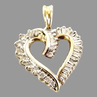 WOW! Super Bargain! Estate Perfect Heart for Mother's Day Graduation, wedding or just because 14K yellow, Diamond 1.00tcw Total (PENDIA10038)