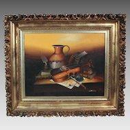 L. Habady original oil on canvas Still Life with Violin 20th century (ART10023)