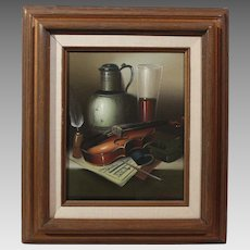 50% OFF SALE: L. Habady original oil on canvas Still Life with Violin 20th century (ART10059)