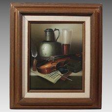L. Habady original oil on canvas Still Life with Violin 20th century (ART10059)