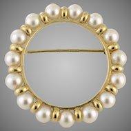 Pearl Set Eternity 14K Circle Pin Brooch 4.1 grams circa 1949