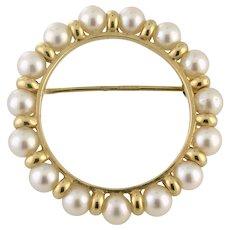 Just Reduced Pearl Set Eternity 14K Circle Pin Brooch 4.1 grams circa 1949