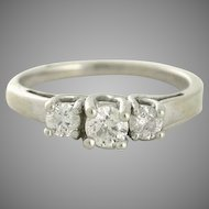 Half Carat total Three Across Diamond Engagement Ring, Round diamonds, 14kt white gold - or for Right Hand Ring
