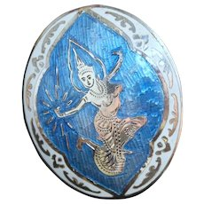Blue Niello Brooch with Siamese Goddess of Lightening - Sterling Silver. Siam.