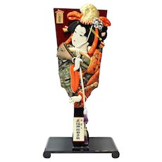 Vintage Hagoita Paddle - Geisha Design on stand.
