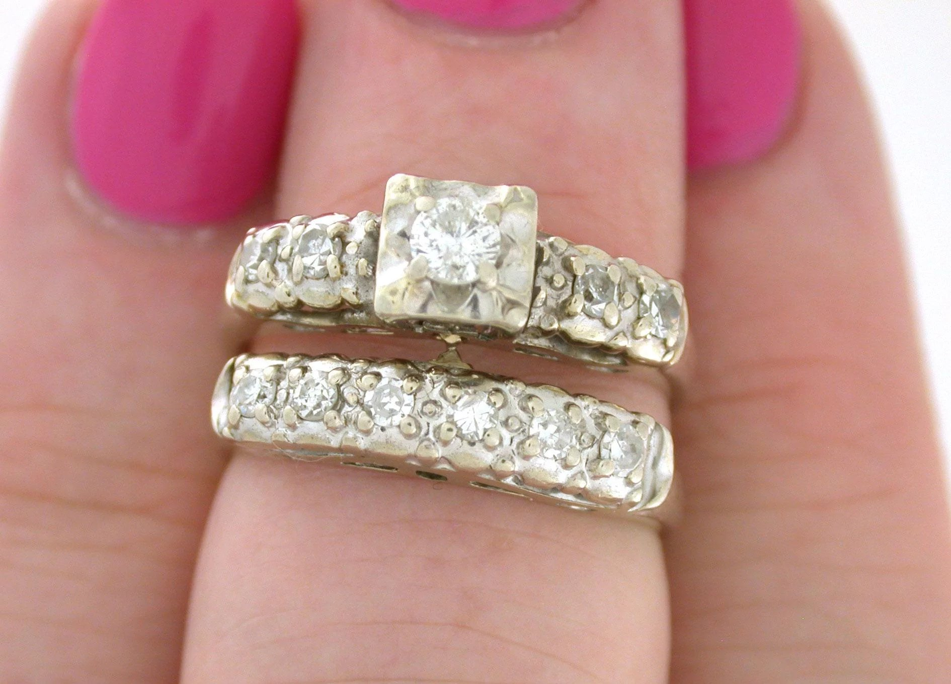 Vintage Wedding Set .40tcw Circa 1952 - Connects together! - Antique ...