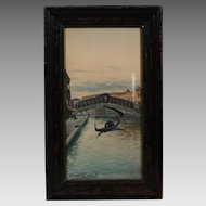 50% OFF SALE: Franklin Dullin Briscoe Venice Canals waterscape watercolor watercolour on paper late 1800s (ART10042)