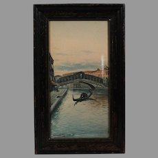 Franklin Dullin Briscoe Venice Canals waterscape watercolor watercolour on paper late 1800s (ART10042)