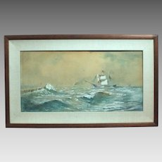 50% OFF SALE: Franklin Dullin Briscoe sailing ship seascape watercolor watercolour on paper late 1800s (ART10040)