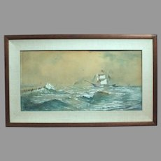 Franklin Dullin Briscoe sailing ship seascape watercolor watercolour on paper late 1800s (ART10040)