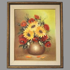 """Sonia Gil Torres """"Sunflowers"""" oil on canvas flower painting (ART10014)"""