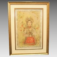 """50% OFF SALE: Edna Hibel """"Tonette"""" Section XIV 24/24 Stone Lithograph on Silk Professionally Framed w/ COA attached  Litho Wall Art Russian Religious (ART10013)"""