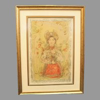 """Edna Hibel """"Tonette"""" Section XIV 24/24 Stone Lithograph on Silk Professionally Framed w/ COA attached  Litho Wall Art Russian Religious (ART10013)"""