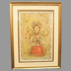 "Edna Hibel ""Tonette"" Section XIV 24/24 Stone Lithograph on Silk Professionally Framed w/ COA attached  Litho Wall Art Russian Religious (ART10013)"