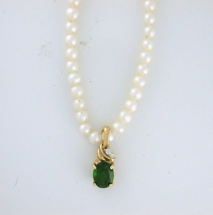 Chrome diopside with diamond pearl enhancer pendant 14k gold russian chrome diopside with diamond pearl enhancer pendant 14k gold russian gem aloadofball Image collections