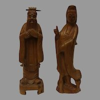 Confucius and Guanyin Teak Wood Statues
