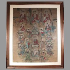 Wow Just Reduced! Oriental Antiquity Painting on Parchment c1850 Buddha with the Celestials (ART10024) on SALE NOW