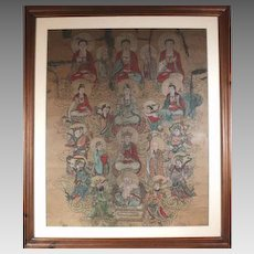 Oriental Antiquity Painting on Parchment c1850 Buddha with the Celestials (ART10024)