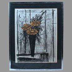"Bernard Buffett ""Flowers"" 1968 lithograph w/ certificate of authenticity (ART10011) on SALE NOW"
