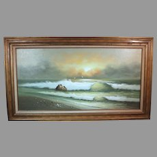 George Cherepov beachscape oil on canvas mid-century (ART10017)