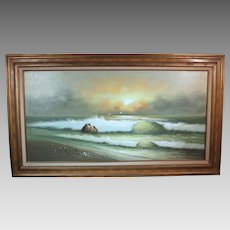 50% OFF SALE: George Cherepov beachscape oil on canvas mid-century (ART10017)