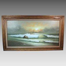 George Cherepov beachscape oil on canvas mid-century (ART10017)