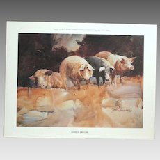 "50% OFF SALE: ""Board of Directors"" by Jack Clouse DeLoney numbered print (201 of 500) 1985 Amusing pig art! (ART10001)"