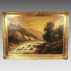 50% OFF SALE: F.L. Gamerith oil on canvas landscape scene Stream in Wooded Mountains (ART10061)