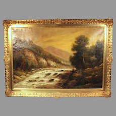 F.L. Gamerith oil on canvas landscape scene Stream in Wooded Mountains (ART10061)