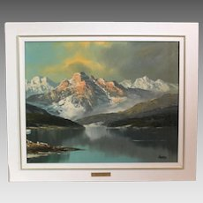 Charles Garo (Tatossian) snowy mountain landscape acrylic circa late 20th century (ART10043)