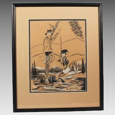 "50% OFF SALE: Original Jack Harrington Cartoon Charcoal Pencil Drawing ""Unsnagging Fishing Line"" Noted Cartoonist (ART10005)"