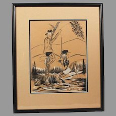 "Original Jack Harrington Cartoon Charcoal Pencil Drawing ""Unsnagging Fishing Line"" Noted Cartoonist (ART10005)"