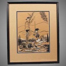 "Original Jack Harrington Cartoon Charcoal Pencil Drawing ""Unsnagging Fishing Line"" Noted Cartoonist (ART10005)"