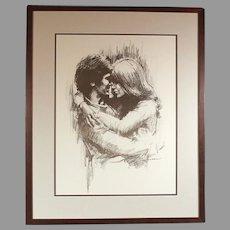 "Leo Jansen ""Hugging"" chalk pastel print - framed - couples art - wedding - marriage (ART10032)"