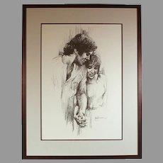 "Leo Jansen ""Holding Hands"" chalk pastel print - framed - couples art - wedding - marriage (ART10031)"