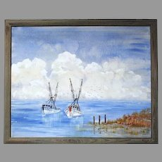 WOW! Just Reduced Painting of Shrimp Boats signed by Joulon (ART10021)