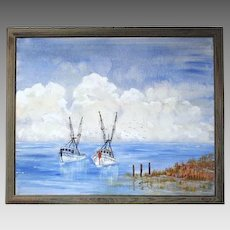Painting of Shrimp Boats signed by Joulon (ART10021)