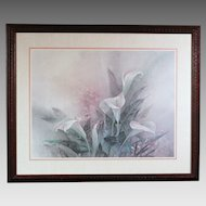 50% OFF SALE: Lena Liu floral print White Calla Lily bouquet - framed (ART10055)