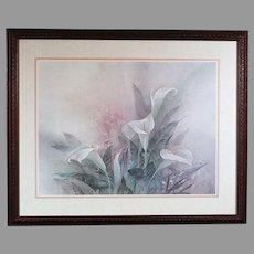 Lena Liu floral print White Calla Lily bouquet - framed (ART10055)