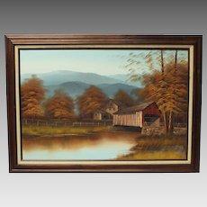 K Michaelson Covered Bridge Grist Mill pastoral landscape oil on canvas (ART10022)