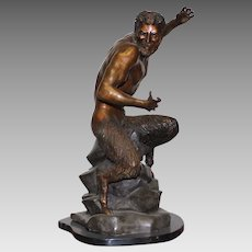 """Just Reduced Ricardo Ponzanelli """"The Satyr"""" Bronze Sculpture 22""""H Signed Casting"""