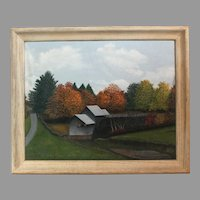 S.R. Tully oil on canvas of grist mill - framed landscape (ART10057)