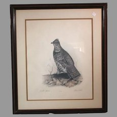 "50% OFF SALE: Robert White ""Ruffed Grouse"" 1977 lithograph 431/1500 w/ COA (ART10046)"