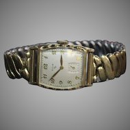 Elgin 17 Jewels Men's or Unisex Watch 10k rolled gold plate circa 1952 with stretch band