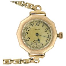 Art Deco Elgin Ladies 14k Gold Filled Watch 7 Jewels circa 1923. Decagon, Geometric Style