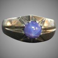 Linde Star Sapphire Ring 14k white gold Circa 1970