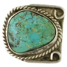 Vintage Turquoise Coin Silver Navajo Ring size 10 Men's Jewelry / Women's Jewelry SS10004