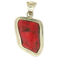 Natural Coral Bezel Set Sterling Silver Pendant Necklace