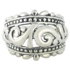 Fashionable Filigree Wide Designer Band in Sterling Silver size 7 3/4 - SS10096