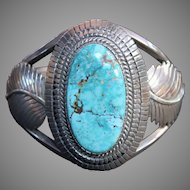 WOW, SUPER MARK DOWN Eddy Chaco Authentic Signed  Navajo Turquoise and Sterling Bangle 73.3g